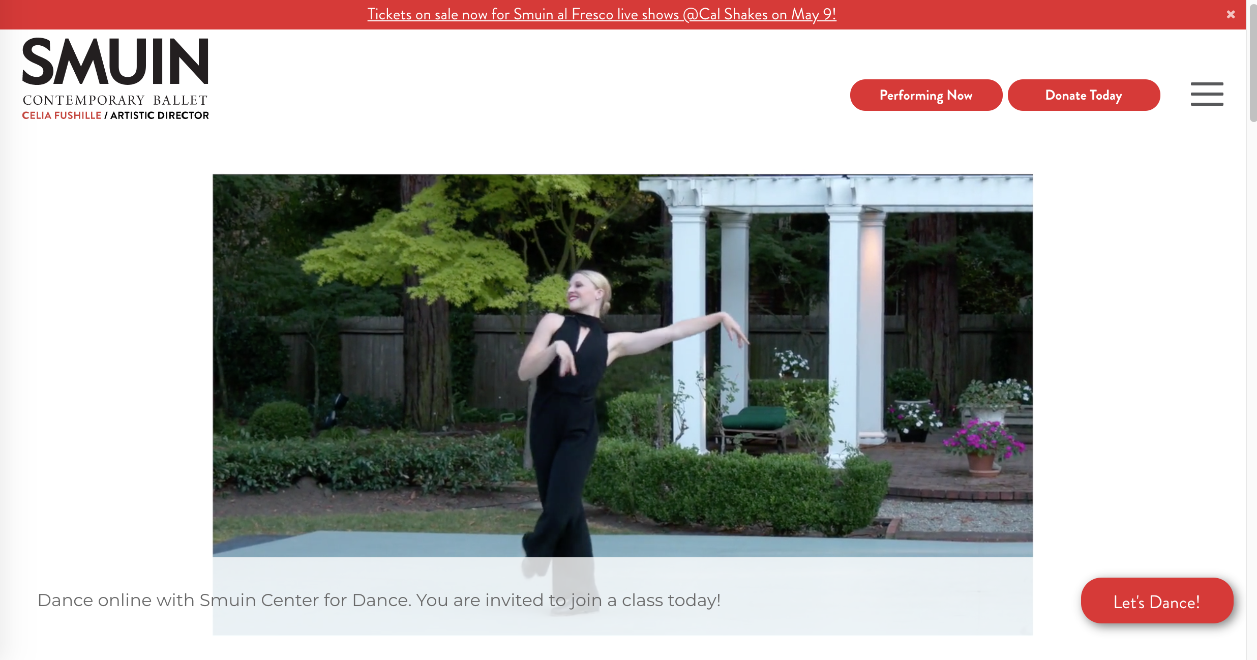 Smuin Artist Tessa Barbour strikes a tap pose outdoors with white columns in background for website home page